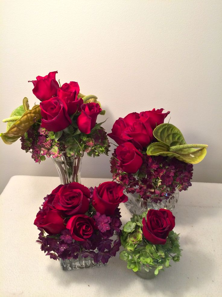 Gratitude Blooms. Floral Sentiment: Anthurium (Hospitality), Hydrangea (Pride), Roses (Love)