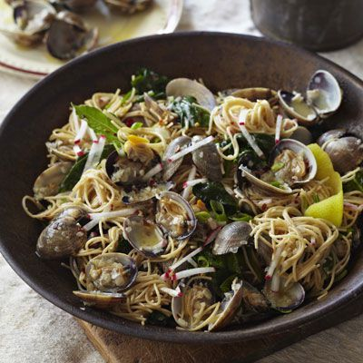 Angel Hair Pasta with Clams, Radishes, and Spinach