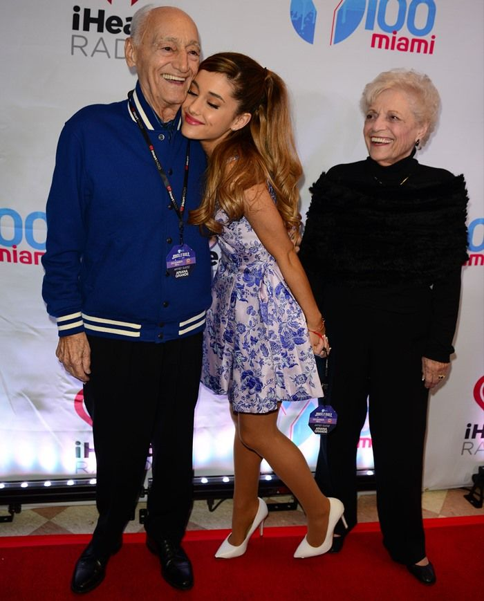 Ariana Grande arriving and posing with her grandparents at the Y100's Jingle Ball 2013 presented by Jam Audio Collection at the BB&T Center in Florida on December 21, 2013