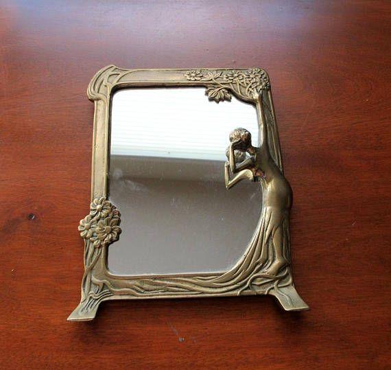 Vintage Art Nouveau Solid Brass Lady Tabletop Vanity Mirror