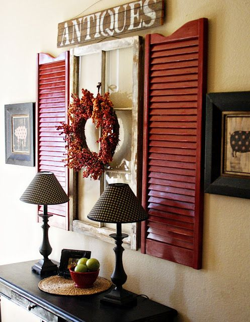Love the Red Shutters and rustic window frame..: Red Shutters, Entry Way, Old Shutters, Decor Ideas, Old Windows, Oldwindow, Old Window Shutters, Entryway, Window Frames