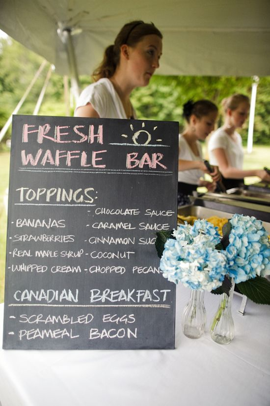 . I LOVE breakfast for dinner, and I think it can be done delicately enough to be tasteful at a wedding, especially in an outdoor setting which is less formal.  (This link is actually about budget cutting ideas)