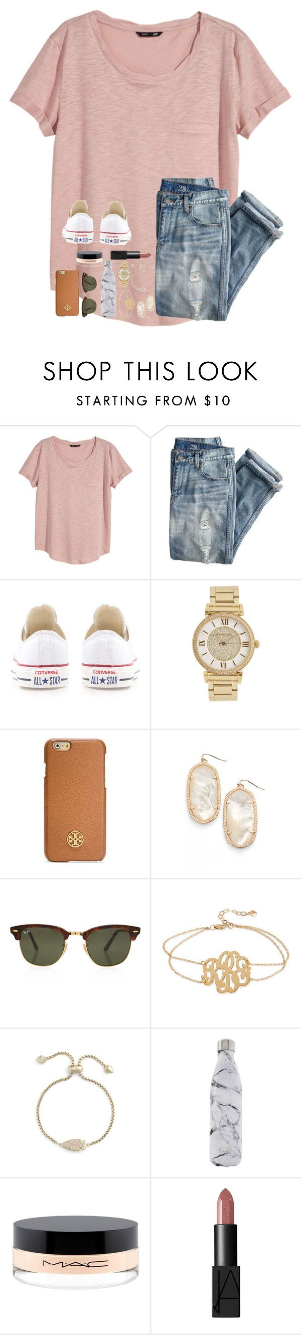 """Untitled #104"" by tortor7 ❤ liked on Polyvore featuring H&M, J.Crew, Converse, Michael Kors, Tory Burch, Kendra Scott, Rayban, Kate Spade, S'well and MAC Cosmetics"
