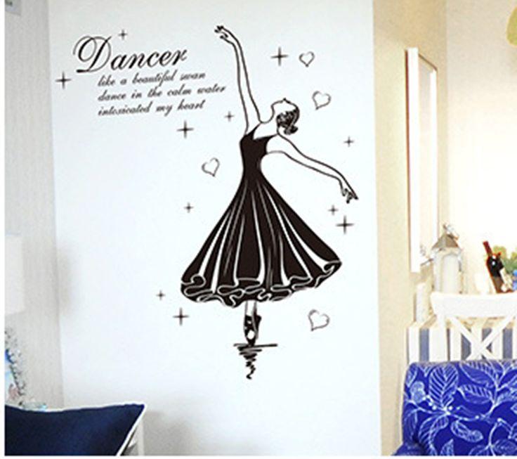 Ballet Dancer Wall Stickers Music Room Dancing Room Wallpaper Poster Art  Bedroom Hallway Wall Graphic Decorative Wall Tattoo
