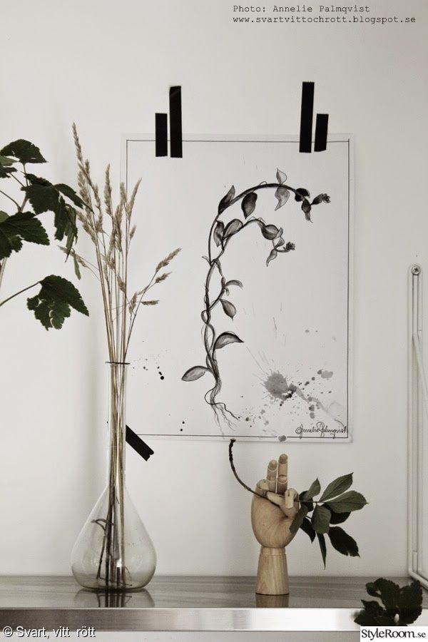 tavla,växter,vägg,washitejp,svart och vitt,kök