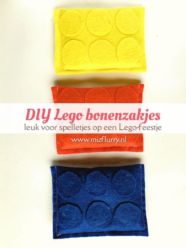 Maak zelf deze vrolijke Lego bonenzakjes van vilt met deze Nederlandstalige handleiding. Leuk voor spelletjes op een Lego feestje.
