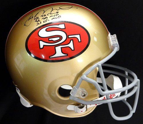 Joe Montana Autographed Signed 49'ers Full Size Helmet With Stats