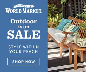 Great deals to be found at Cost Plus World Market for Memorial Day Weekend!  Save 15% & Get FREE Shipping! Tons of outdoor decor & Furniture on sale!