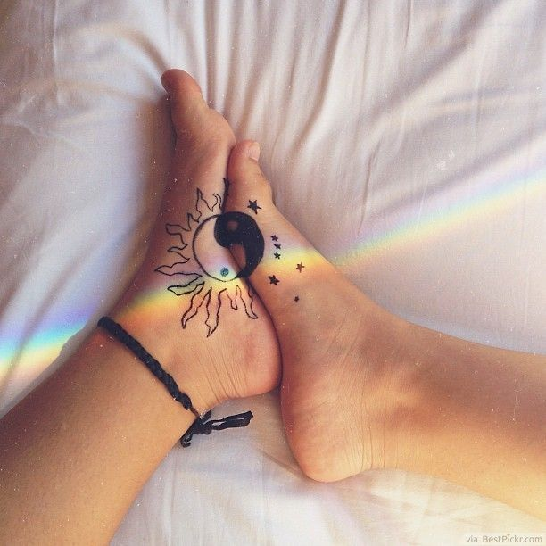earth tattoos with yin yang   ... Yin Yang Feet Tattoos http://bestpickr.com/yin-yang-tattoos