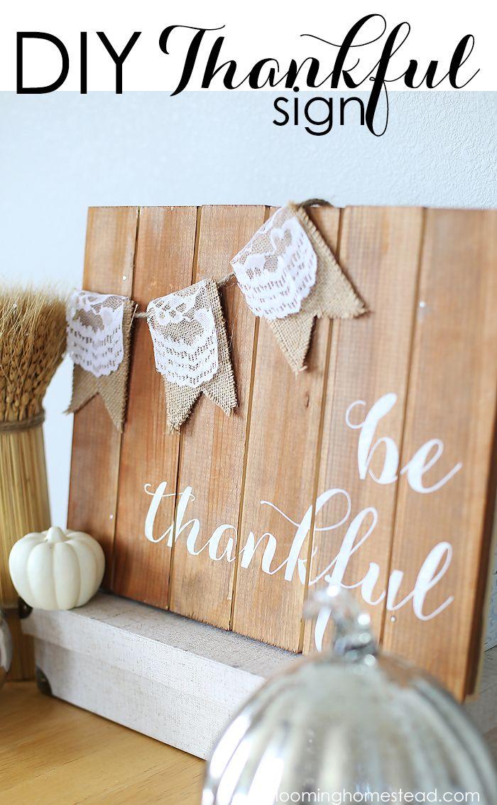 Diy Thankful Sign Real Thanksgiving Thanksgiving Diy