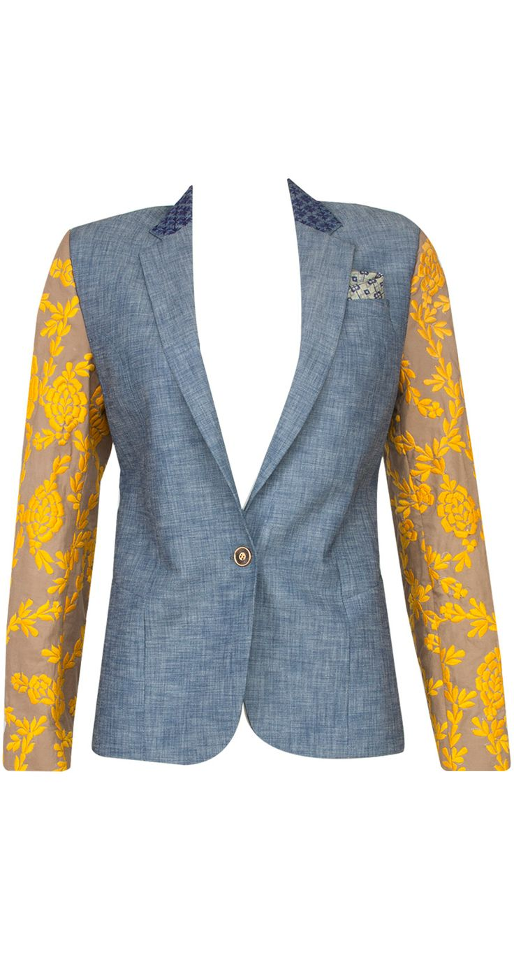 Chambray vintage blazer by FROU FROU. Shop at http://www.perniaspopupshop.com/whats-new/frou-frou-6619