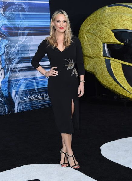Molly Simms attends the red carpet arrivals for the world premiere of Power Rangers at the Village theatre in Hollywood, California on March 22, 2017. / AFP PHOTO / CHRIS DELMAS