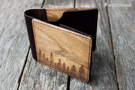 Wooden Leather Wallet, Personalized Leather Wallets, Wood wallet, Mens wallet Forest Groomsmen gift, Boyfriend gift, Husband gift, Mens gift