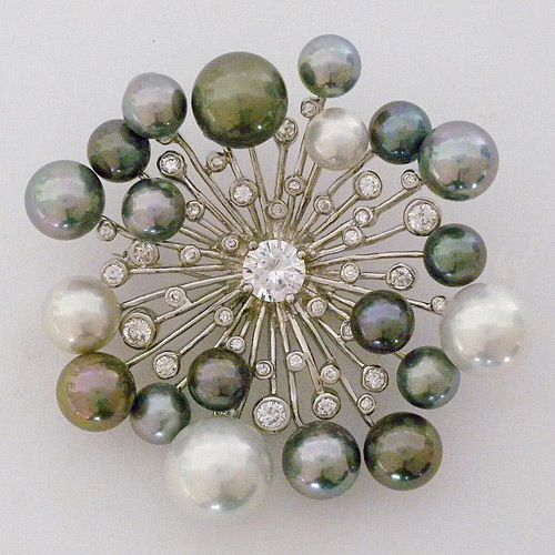 Broche de Perlas y diamantes