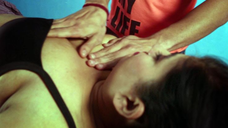 Huge Cleavage Lady Body Massage Tempted by Massage Man