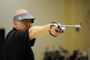 2012 Olympics Courtesy | U.S. ArmyDaryl Szarenski holds his breath when he competes in the 50m free pistol Olympic events.