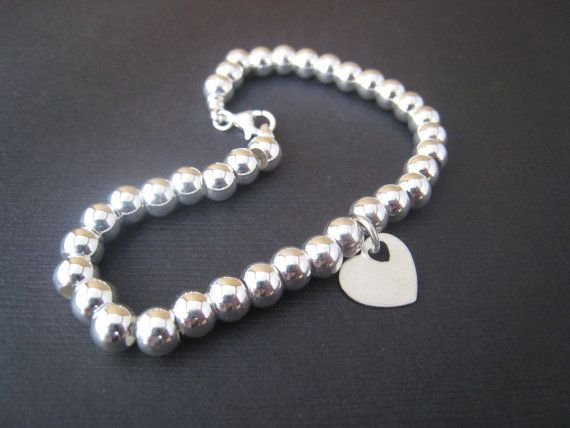 Tiffany 'Inspired' sterling silver bead chain by stampedjewellery, $145.00