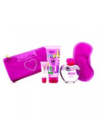 Moschino - Pink Bouquet Набор: Туалетная Вода Спрей 100мл/3.4унц + Лосьон для Тела 100мл/3.4унц + Блеск для Губ 10мл/0.3унц + Маска для Сна  4pcs