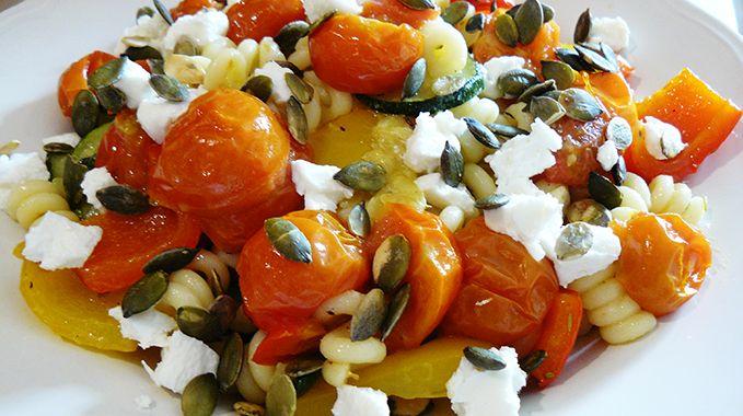 Vegetarische pastasalade met geitenkaas - Vegetarisch Recept