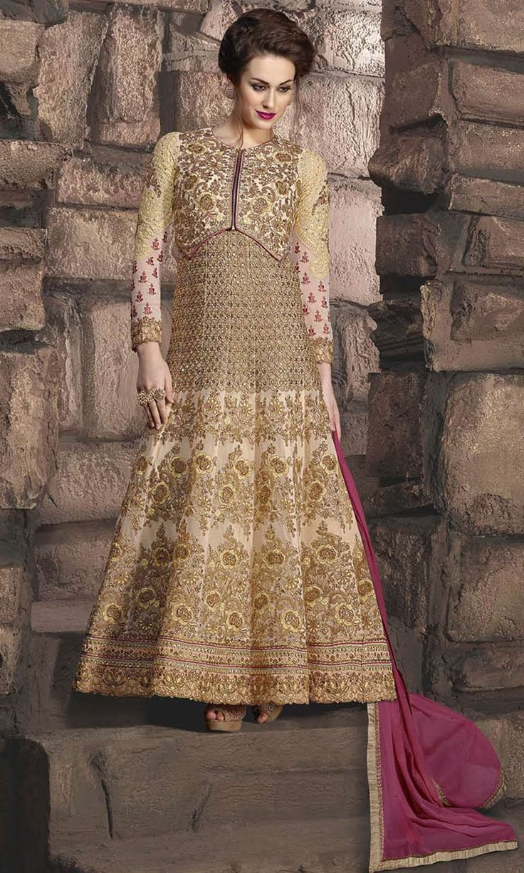 Buy online Party Wear Beige and Magenta Frock Suit (SKU Code : SUEJDSKW10003) at Ishimaya Fashion.
