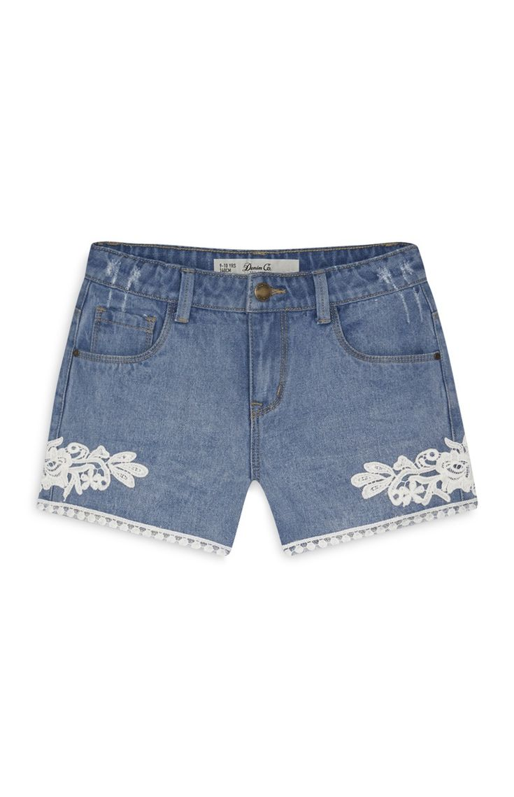 Primark - Short bleu en denim détail crochet ado