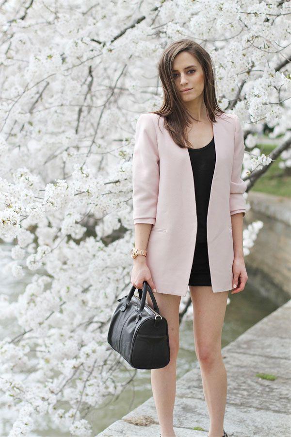 mini dress and pink blazer