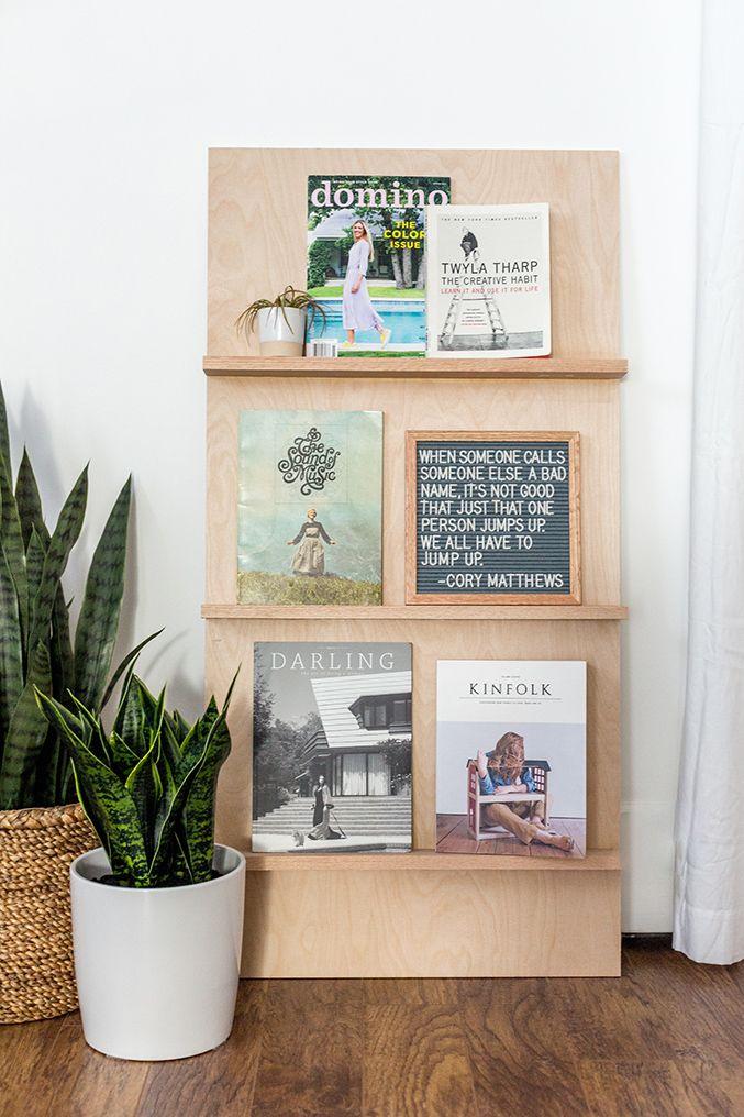 Diy Free Standing Plywood Magazine Rack Wooden Crafts Diy