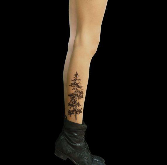 Kiefer Baum Tattoo Strumpfhose von TattooTightsTATUL auf Etsy