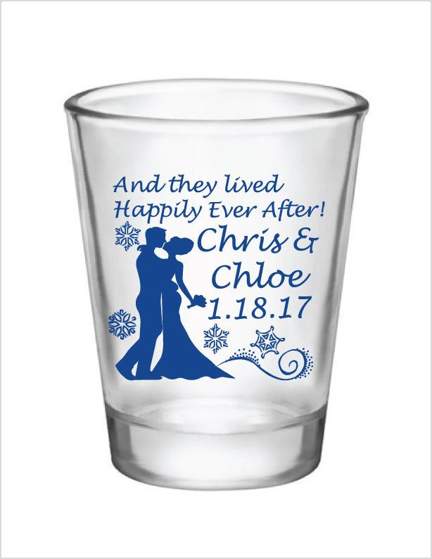 Winter Wedding Favors Snowflakes Shot Glass Wedding Favor 1.5oz Glass Shot Glasses Custom Personalized Bride & Groom Christmas Wedding Favor by Factory21 on Etsy