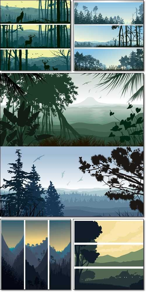 Horizontal, vertical banners of wild animals in hills wood,  rural landscape, forest - Vector