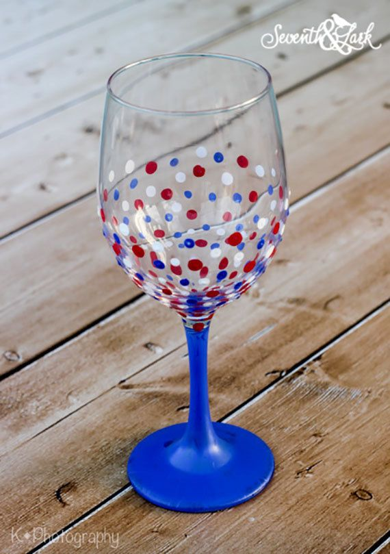 All American Painted Wine Glass  Paint Your Own by SeventhAndLark