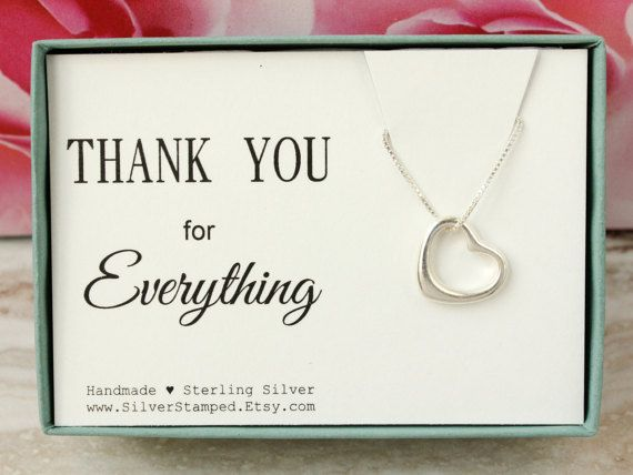 Thank You Gift For Friend Sterling Silver Open Heart Necklace Box Bridal Shower Hostess Baby