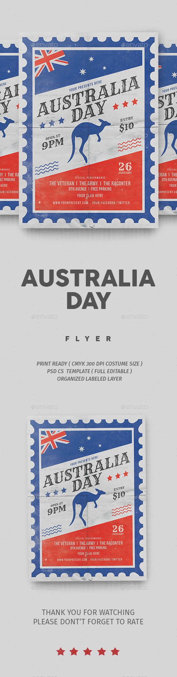 Australia Day Flyer Vol 2 — Photoshop PSD #festival #australia party • Download ➝ https://graphicriver.net/item/australia-day-flyer-vol-2/19289304?ref=pxcr