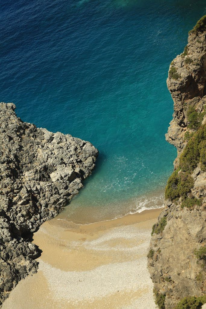 "difficult to approach beach near ""Panagia Orfani"" Mylopotamos - Kythira island, Greece"