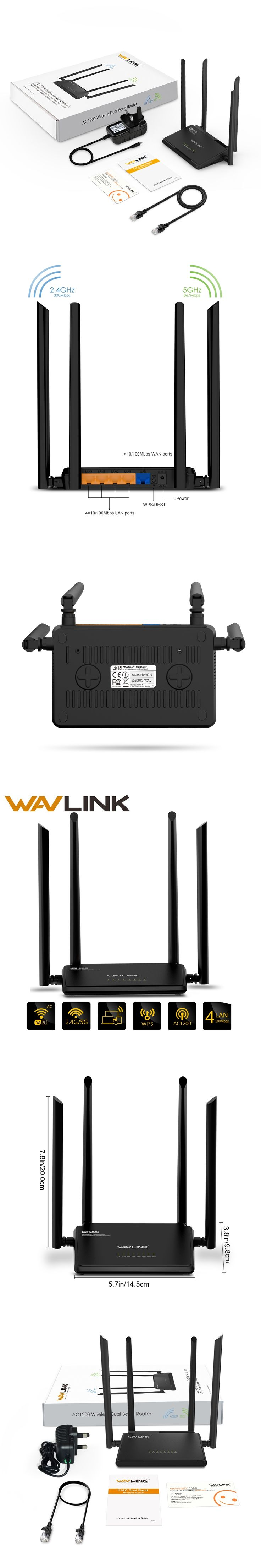 Wavlink AC1200 High Power Wireless Wifi Dual Band Router 2.4GHz Wifi Router Repeater 5ghz with 4*5dBi High Gain External Antenna