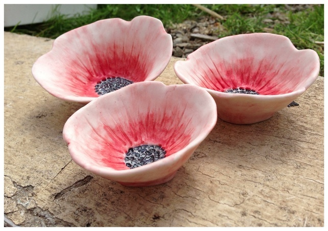 Porcelain flower dish set, Poppy. House warming, wedding. £23.99