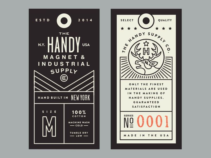 First option for some clothing tags for Handy Supply Co.