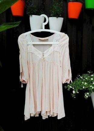 Alternatywna unikalna #bluzka #jasny #róż wiązana #guziczki #river_island