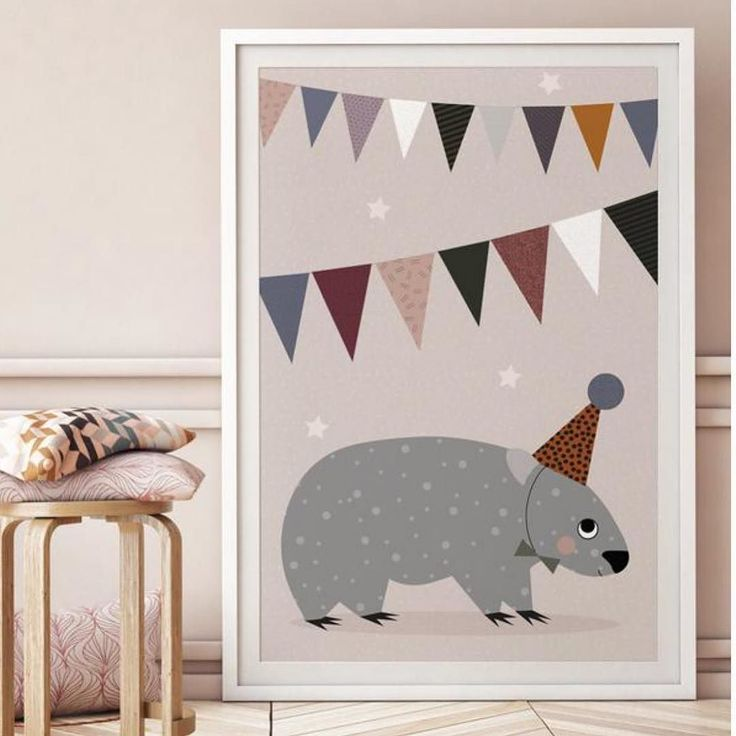 """""""Why fit in when you were born to stand out?""""  Dr Seuss Happy Monday peeps!  Wombat Bunting poster online now. Shop link in bio !"""