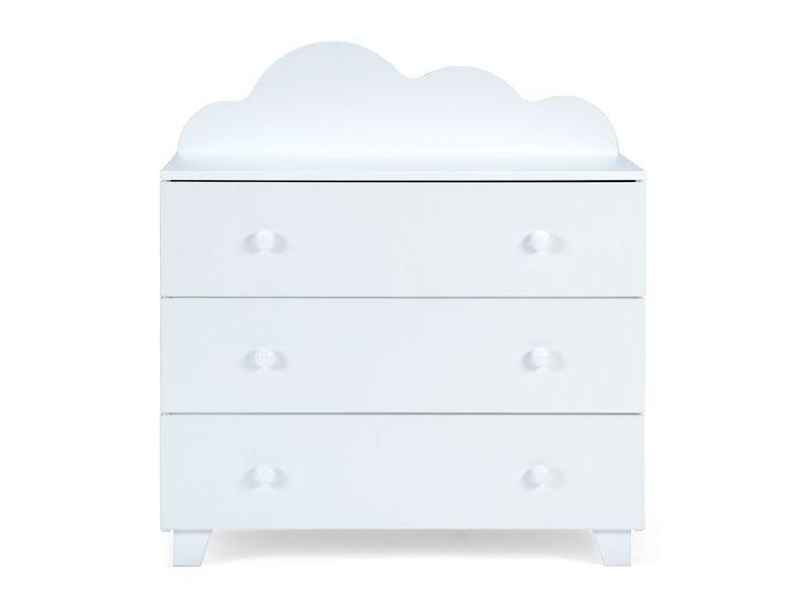 Commode CLOUDY à 3 tiroirs en pin et en MDF blanc pour chambre d'enfant | Massivum