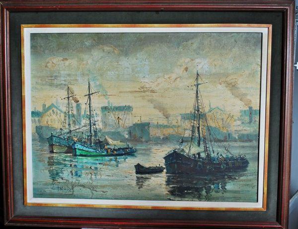 ÓLEO SOBRE TELA - Belíssimo quadro com qualidade nos detalhes, retratando navios pesqueiros voltando