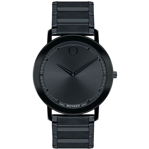 Movado Unisex Swiss Sapphire Black Pvd-Finished Stainless Steel... (€1.765) ❤ liked on Polyvore featuring jewelry, watches, accessories, bracelets, black, no color, bracelet watch, sapphire jewelry, stainless steel jewelry and movado watches