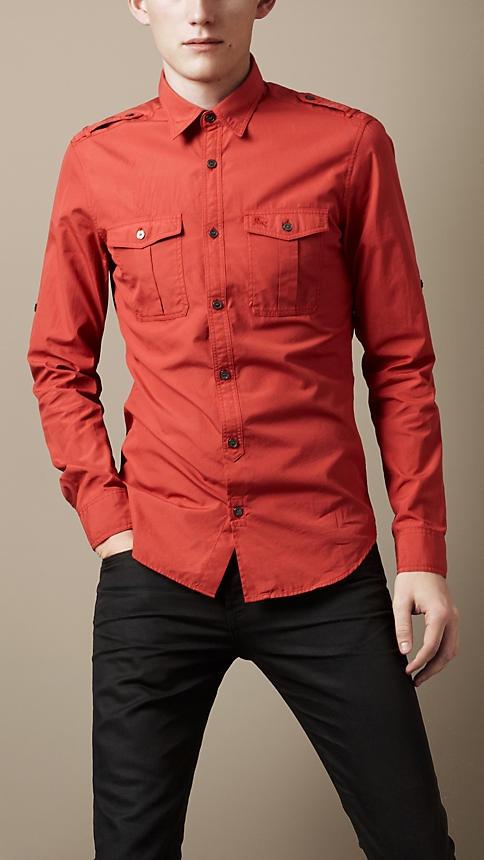 Burberry Brit Cotton Poplin Military Shirt