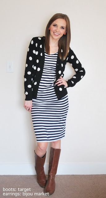 polka dot cardigan over black/white striped dress