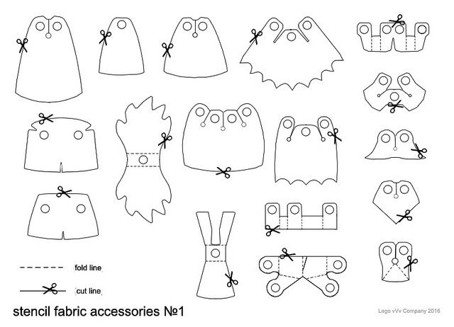 Shapes of all LEGO clothing accessories...cape in the top left corner is Naare's style