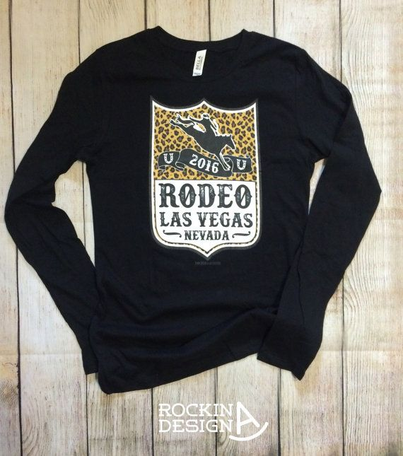 Rodeo Las Vegas Nevada long sleeve t shirt / by RockinAdesign  Rockin A Design cowgirl raglan rodeo cowboy bronc rider back number NFR national finals Las Vegas bucking horse