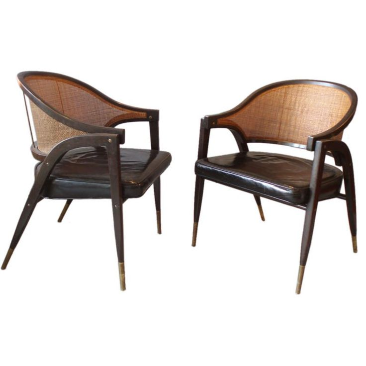 Cane Back Leather Seat Lounge Chairs by Edward Wormley 1