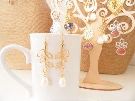 Long Leaf Pearl earrings