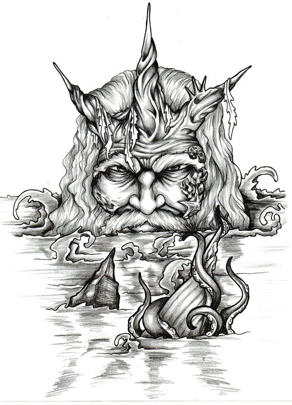 This is a photo of Striking Drawing Of Poseidon