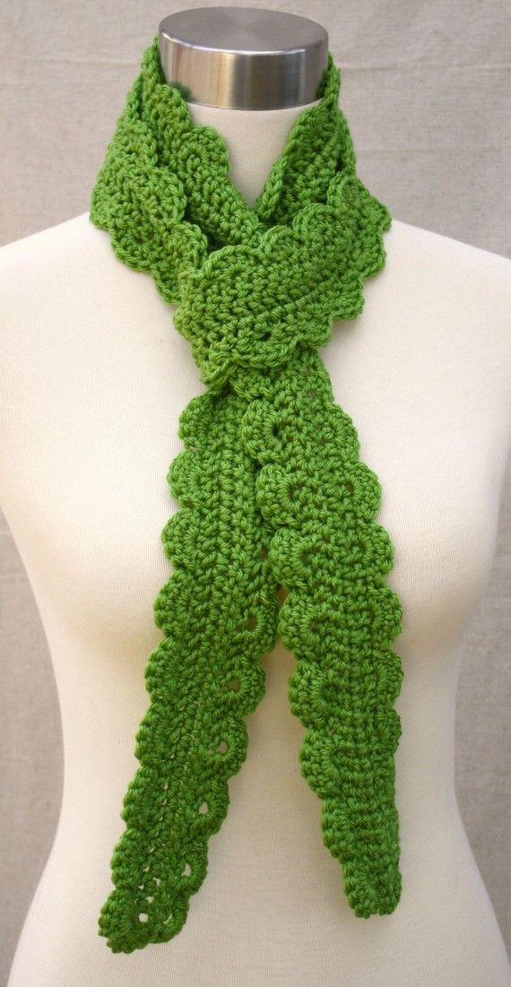 Beautiful Skinny Crochet Scarf Pattern Festooning - Easy Scarf ...
